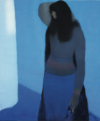 Luc Perot, Bleu, Pastel, 82X67Cm