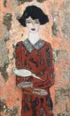 Le Page, Jeune Fille À La Colombe, H S/toile, 100 X 50 Cm
