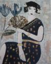 Femme À L'éventail, 92 X 73 Cm